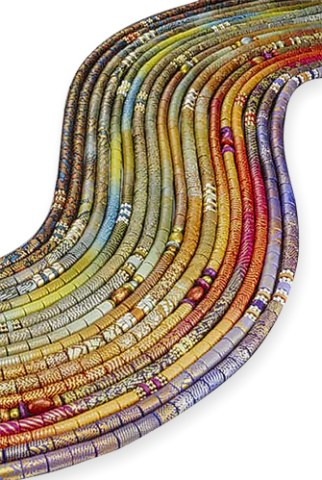 "Nine of Elise Winters' 64"" wrapping rope necklaces from 2004 on PolymerClayDaily.com"