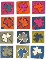 Fiona Herbst gets ready for Paddy's Day with these tiles on PolymerClayDaily