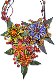 Heggland's tropical flower polymer necklace