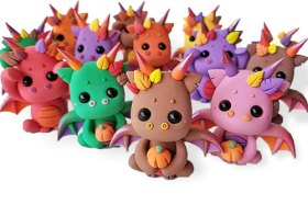 Leah Lester's dragons celebrate Halloween on PolymerClayDaily
