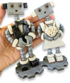 M. Held dresses up her robots for June weddings on PolymerClayDaily.com