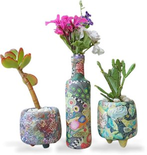 Michelle Sansonetti makes humble bottles and jars into art on PolymerClayDaily.com