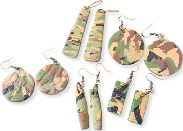Earrings for soldiers from Sherry Shine on PolymerClayDaily.com