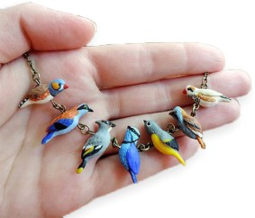 Darya Tarasenko sculpts birds on a wire on PolymerClayDaily