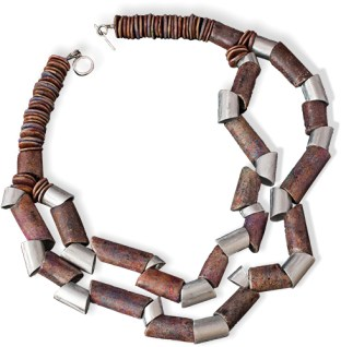 Jeanine van der Linde's big angular beads, aluminum and polymer