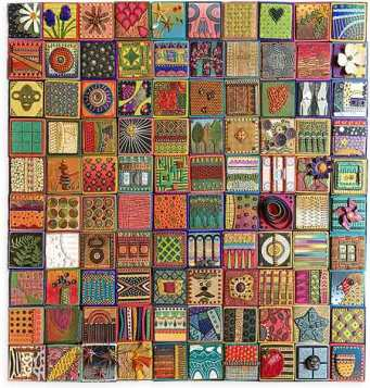 Angie Wiggins tells the story of 100 days in 4x4 tiles on PolymerClayDaily.com