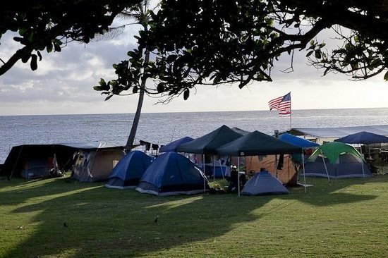 photo of group camping along Oahu beaches