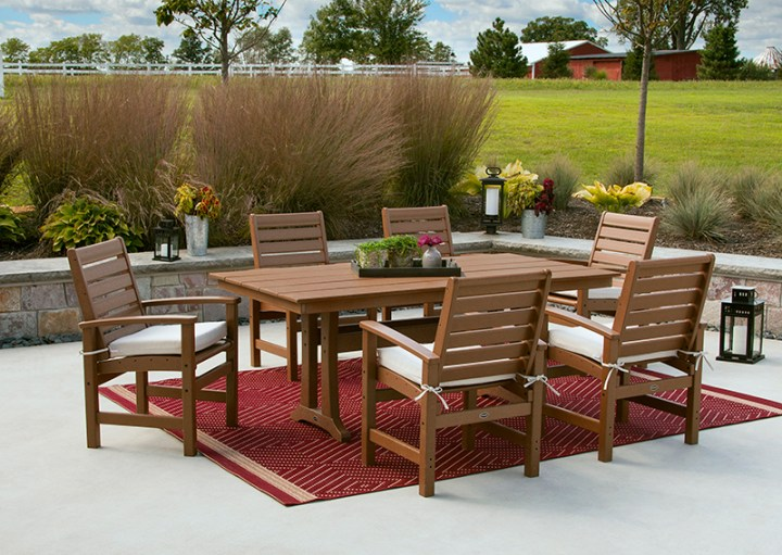 polywood 7 piece farmhouse dining set on back patio