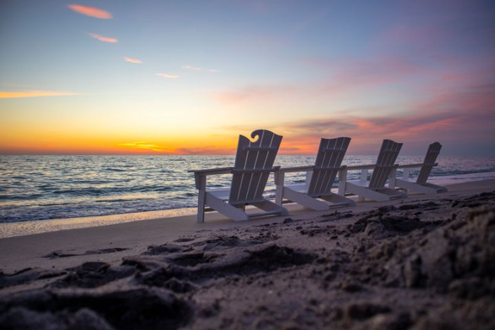 Wave Collection 4-Piece Adirondack Chair Set