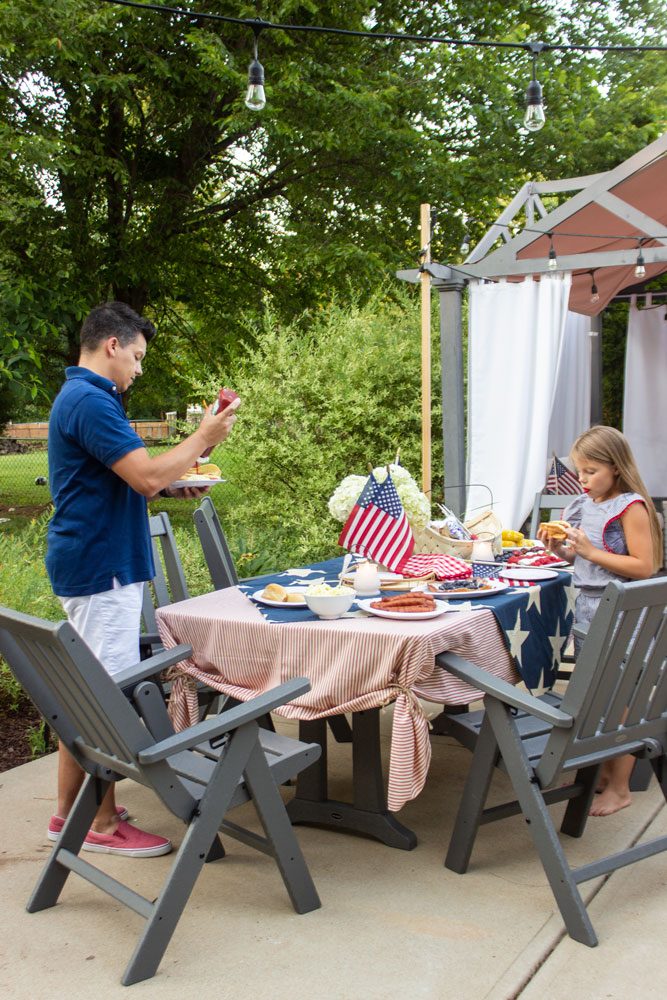 Vineyard 7-Piece Nautical Trestle Folding Dining Set