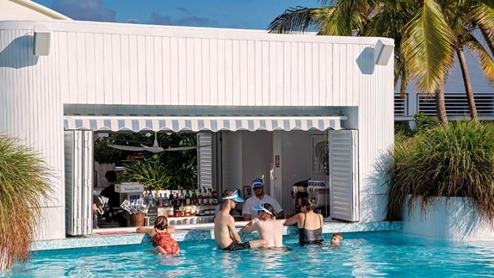 Outdoor swim up pool bar