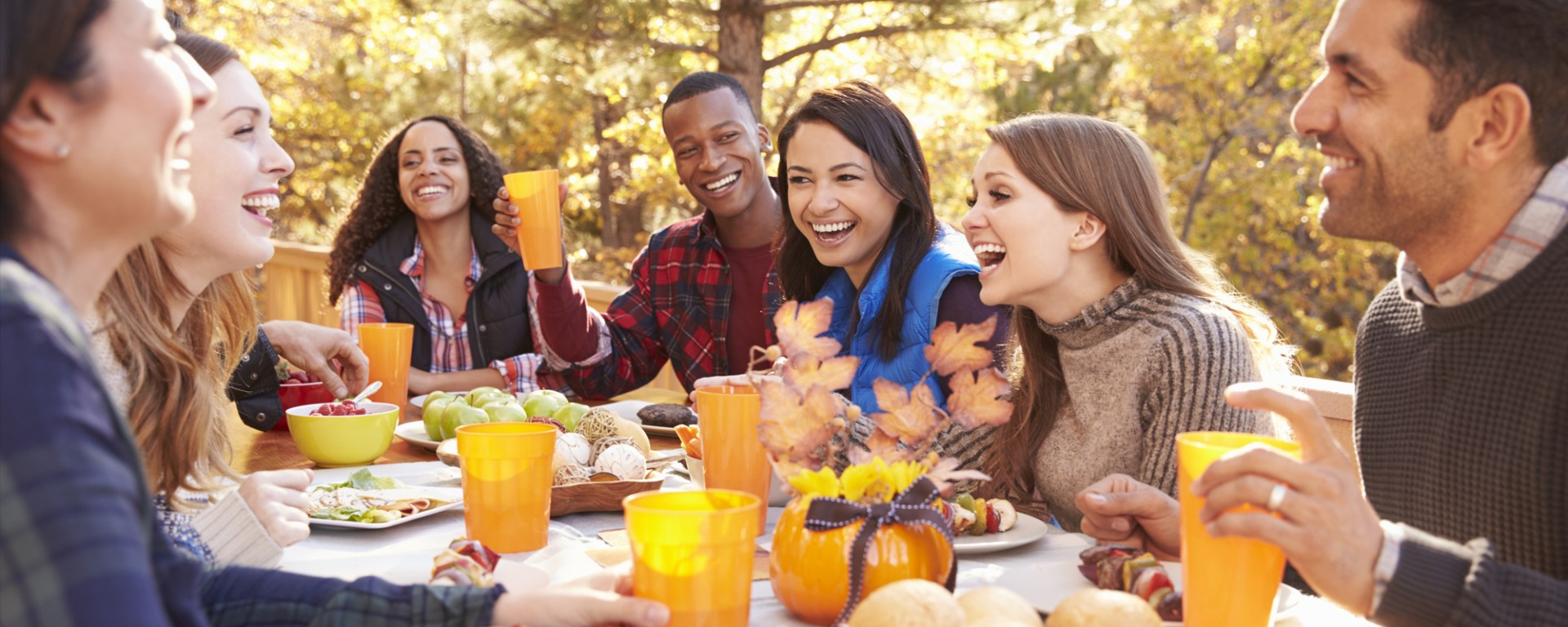 Outdoor Fall Drinks with group of friends