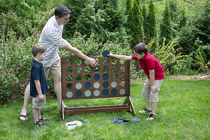 giant connect 4 game in backyard