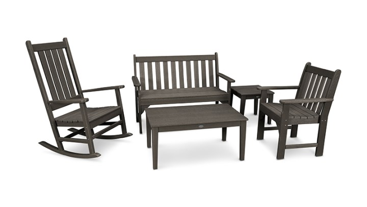 Vineyard 5-Piece Bench & Rocking Chair Set in Vintage Finish