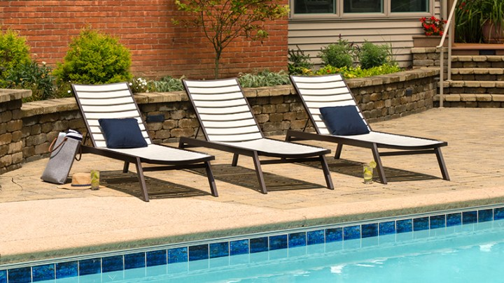 3 polywood outdoor chaise lounges by pool