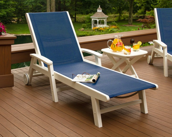 polywood coastal outdoor chaise lounge on deck