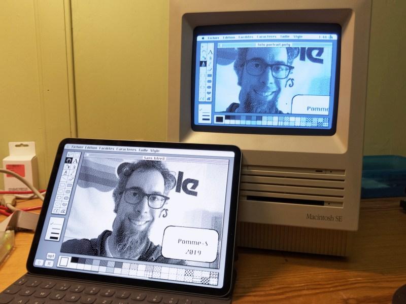 Le même fichier, ouvert dans BananaPaint sur un iPad Pro (2018) et dans MacPaint sur un Macintosh SE sous Système 6.0.7 (1987).