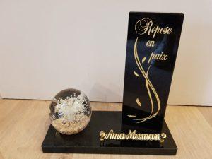 plaque granit noir avec sulfure arbre de la vie deuil-enterrement-tombe-pompes-funebres-odet
