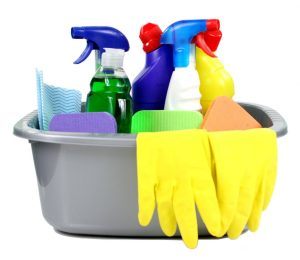 Cleaning Supplies in a tub