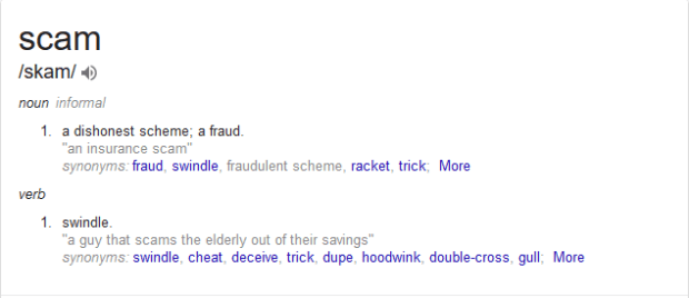 Scam Dictionary definition fraud, swindle