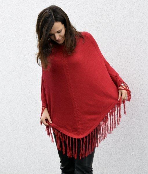 Poncho FLECO rojo