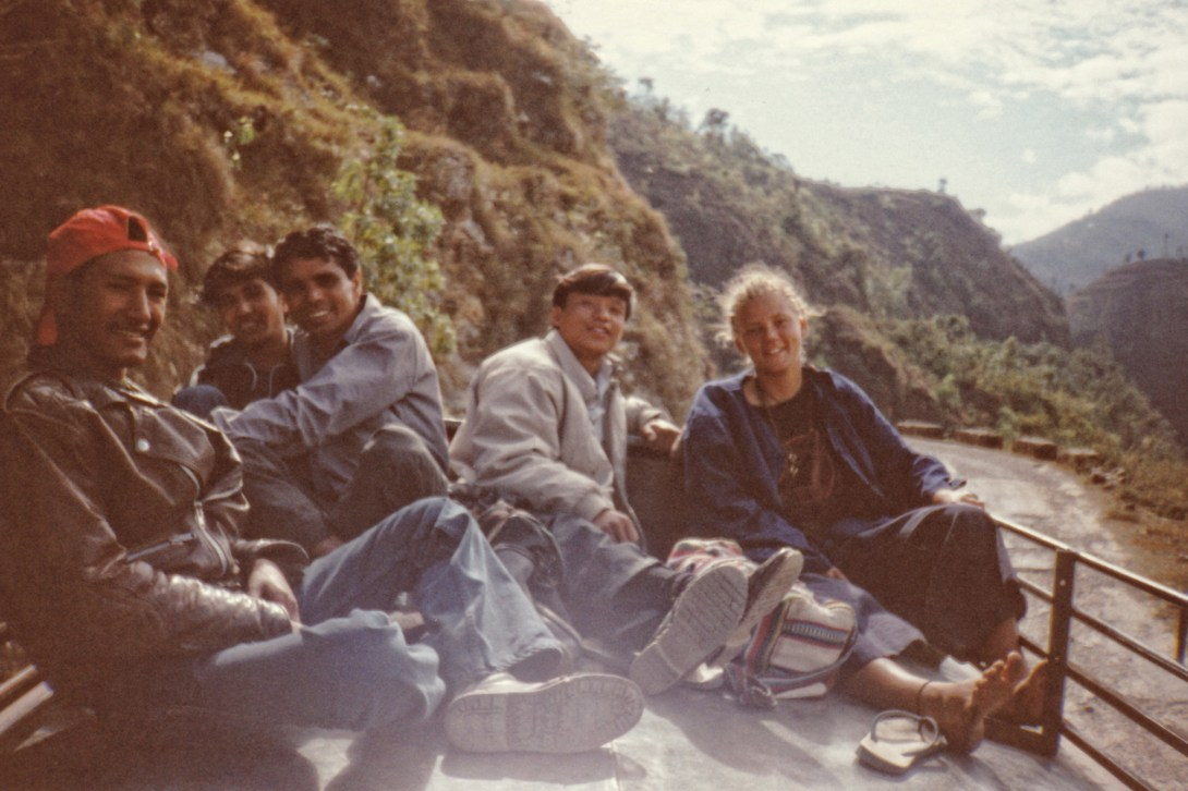 me on a bus roof in nepal