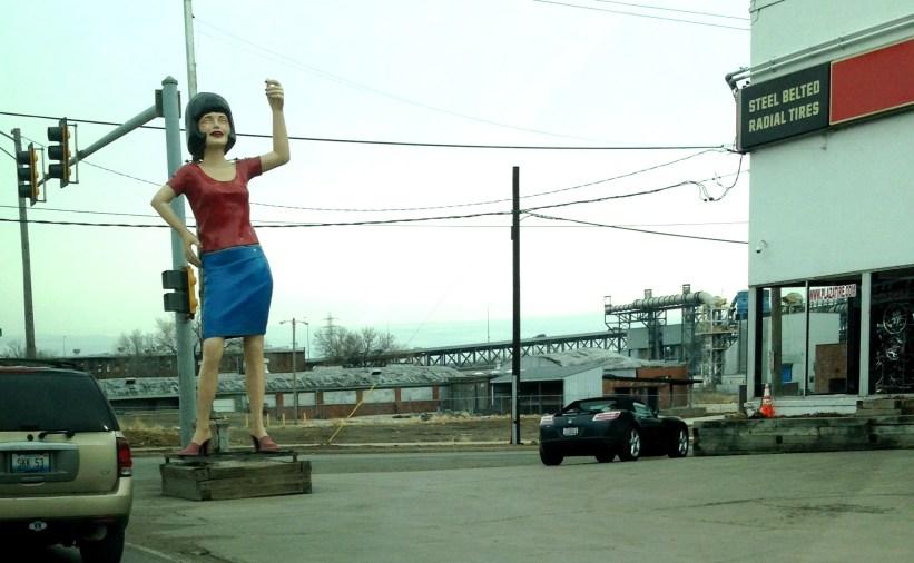 Female statue in Peoria, IL