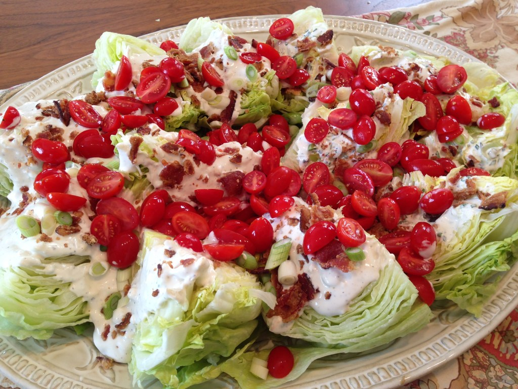 Classic Wedge Salad with Creamy Blue Cheese Dressing and Bacon