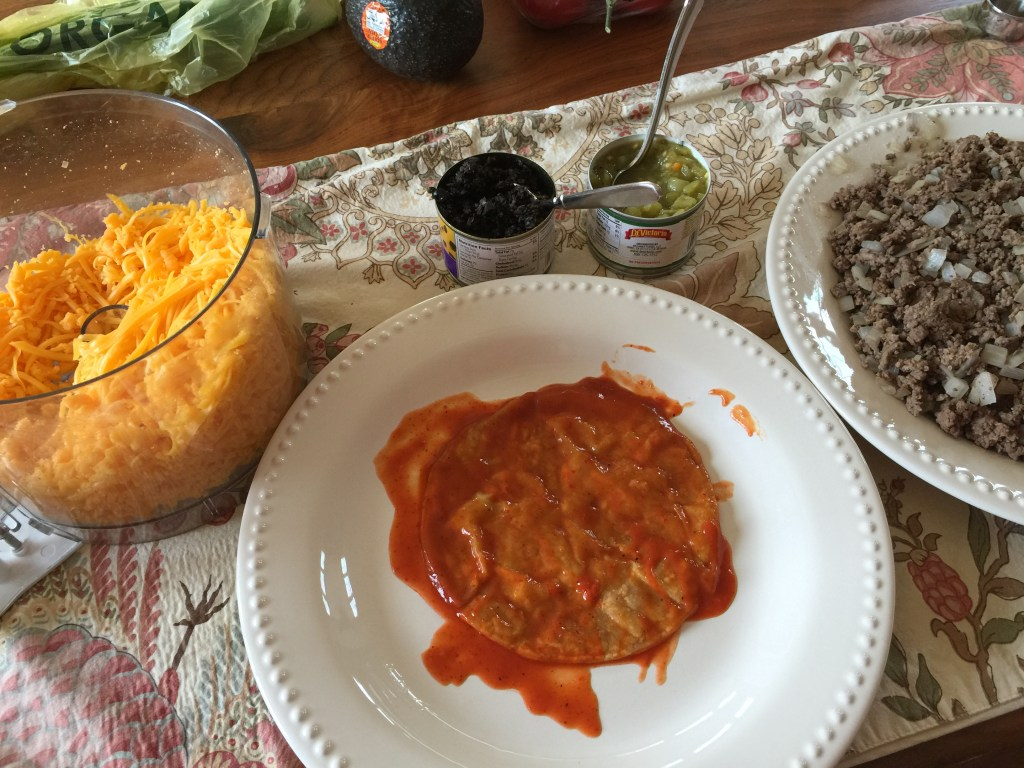 Ground Beef and Cheddar Enchiladas: filling station