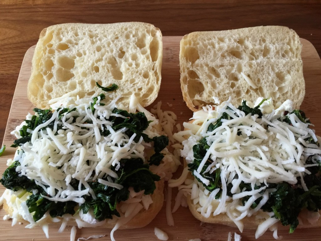 Pressed Spinach and Feta Grilled Cheese: Next, comes the spinach and even more cheese.