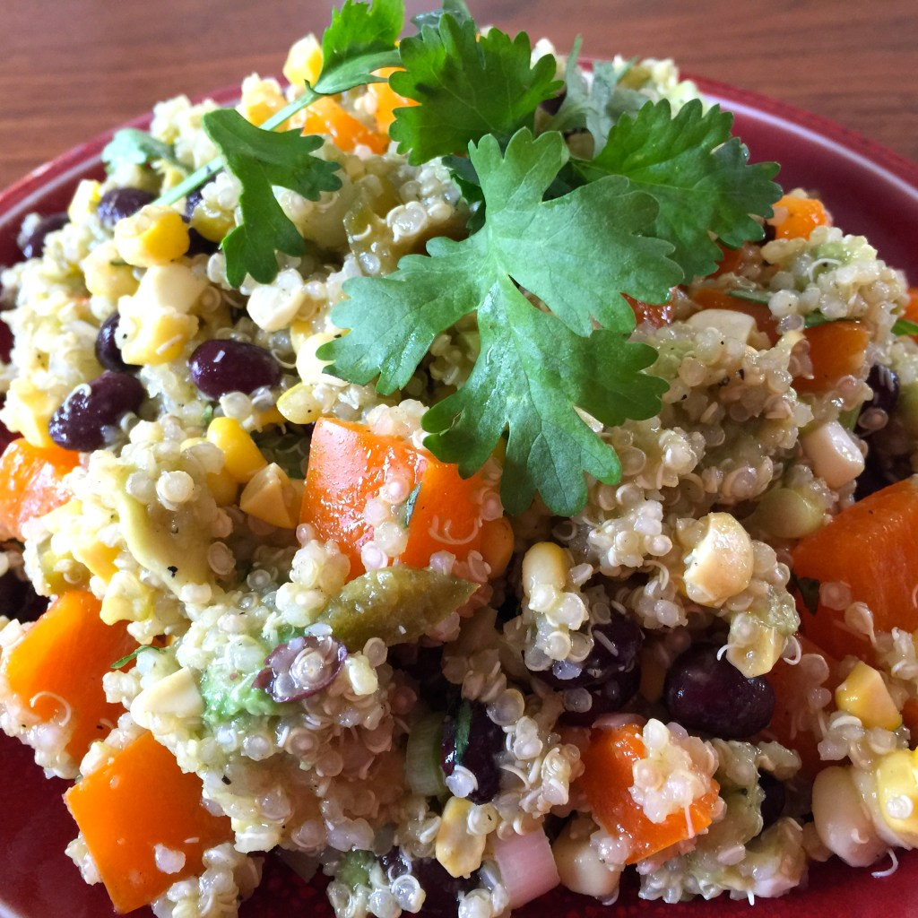 Quinoa salad with black beans, corn, and avocado: YUM!