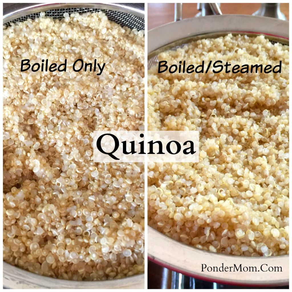 Quinoa salad with black beans, corn, and avocado: Quinoa boiled vs. boiled and steamed
