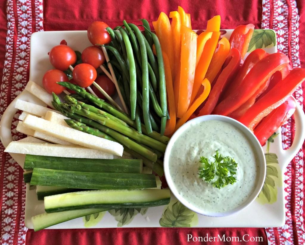 Superbowl treats: veggie platter with green goddess dip