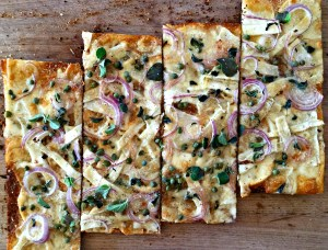 Pizza Bianca with Scamorza and Celery Root