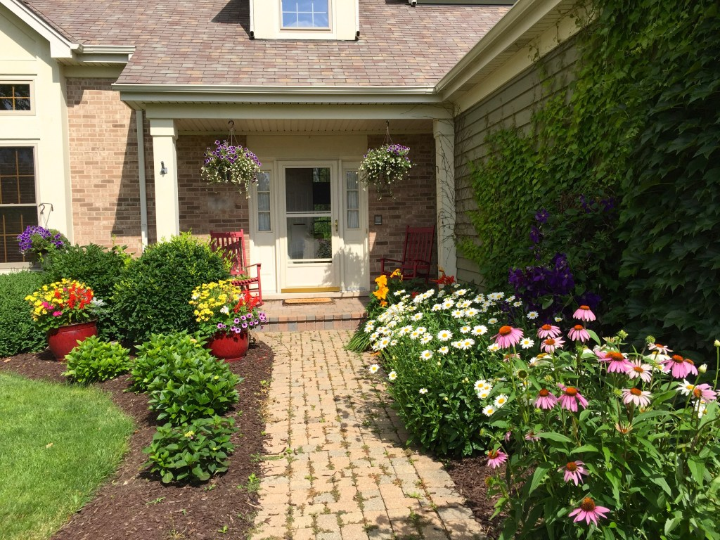 Garden Poem: Our front walkway with flowers