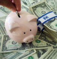 piggy bank and some money