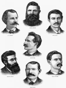 Primero de Mayo | Retrato de los 'Mártires de Chicago' | 1887 | Frank Leslie | Ilustrated Newspaper