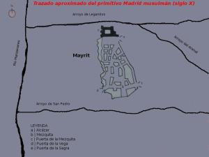 Trazado aproximado del primitivo Madrid Musulmán (siglo X)