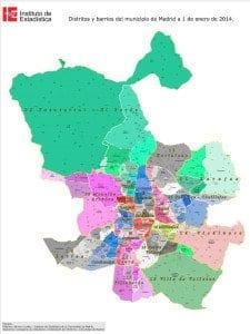 Plano | Distritos y barrios de Madrid | A 01/01/2014 | Fuente Instituto de Estadística de la Comunidad de Madrid