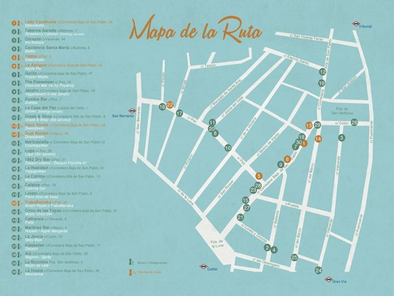 Cócteles por Madrid by Oster | Del 25 al 28 de septiembre y del 2 al 5 de octubre de 2014 | Barrio de Malasaña - Centro - Madrid | Mapa de la Ruta