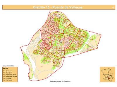 Plano con los 6 barrios del Distrito de Puente de Vallecas de la ciudad de Madrid | Fuente: Dirección General de Estadística del Ayuntamiento de Madrid