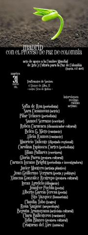 Madrid con el proceso de Paz en Colombia | Acto de apoyo a la Cumbre Mundial del Arte y la Cultura para la Paz en Colombia | Martes 31 de marzo de 2015 | Participantes