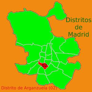 Situación del Distrito de Arganzuela en el plano de distritos municipales de Madrid