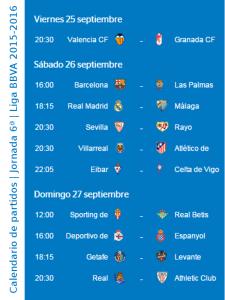 Calendario de partidos | Jornada 6ª | Liga BBVA | Temporada 2015-2016 | Del 25 al 27 de septiembre de 2015