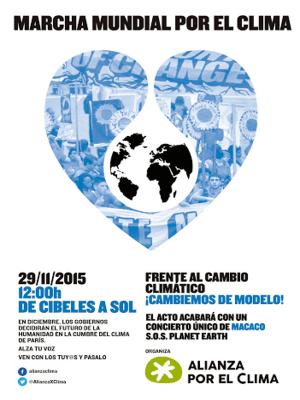 Marcha Mundial por el Clima | Madrid 29N | Plaza de Cibeles - Puerta del Sol | Madrid | 29/11/2015 | Plataforma 'Alianza por el Clima' | Cartel