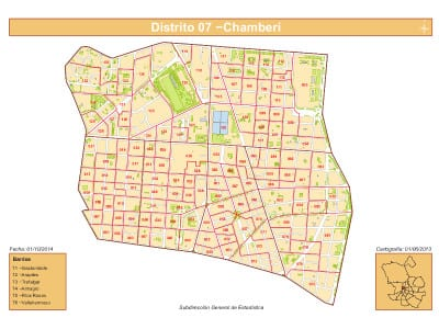 Plano 6 barrios Distrito de Chamberí de Madrid   Fuente: Dirección General de Estadística del Ayuntamiento de Madrid