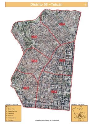 Plano 6 barrios distrito Tetuán | Madrid | Satélite