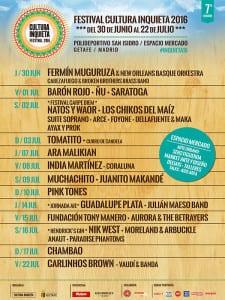 Festival Cultura Inquieta 2016   Polideportivo San Isidro - Espacio Mercado   Getafe   Comunidad de Madrid   Del 30 de junio al 22 de julio de 2016   Cartel Conciertos