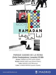 'Noches de Ramadán 2016' | Madrid | Del 21 de junio al 5 de julio de 2016 | Casino de la Reina | Lavapiés | Cartel programación | 29/06-02/07/2016