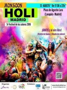 Fiestas de San Cayetano, San Lorenzo y Virgen de la Paloma 2016 | Monsoon Holi Madrid | Plaza de Agustín Lara | Lavapiés - Madrid | 13/08/2016 | Cartel